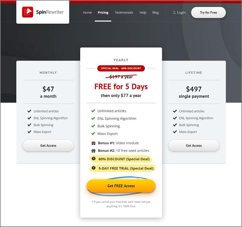 Spin Rewriter Pricing