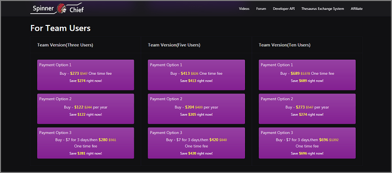 Spinner Chief 6 Pricing For Team Users