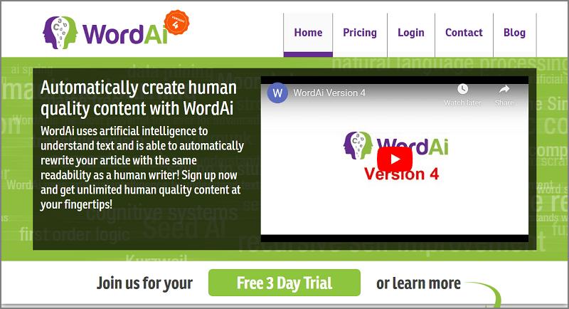 WordAi - Best Article Rewriter Software