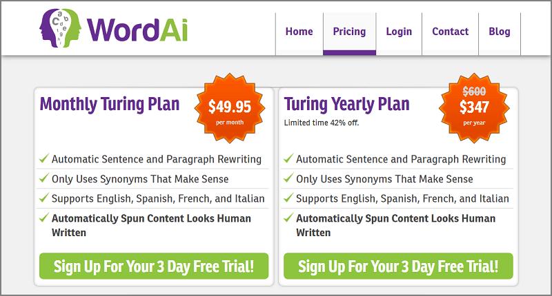 WordAi Pricing