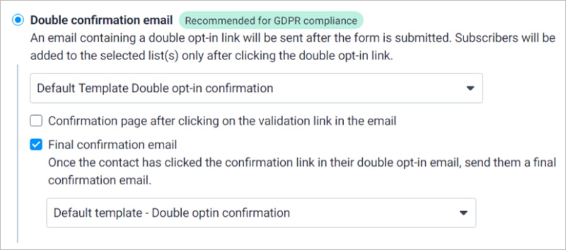 Double Confirmation Email Settings