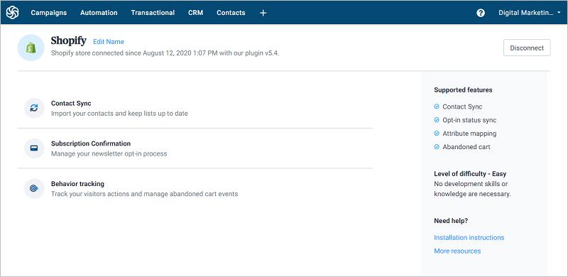 Sendinblue Plugin Features & Settings